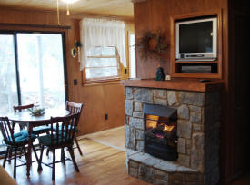 Every cabin has a cozy fireplace.